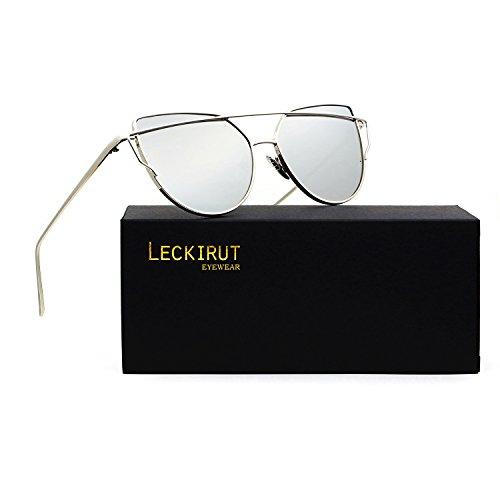 Leckirut Women Cat Eye Sunglasses Mirrored Flat Lenses Street Fashion Metal Frame UV400 silver frame/silver - Cat Aviators Eye