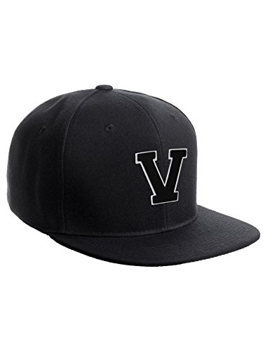 Classic Snapback Hat w Custom A-Z Initial Raised Letters - Black Hat White Black Initial V