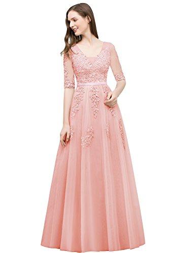 Elegant Ärmel Babyonlinedress für Hochzeit Damen 46 Blush mit Lang 32 Abendkleider fftw4nqT