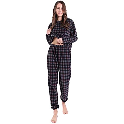 KEMUSI Pajama Set for Womens with Pullover Long Sleeve, Elastic Waistband, Full Length, Soft Flannel Lightweight PJs at  Women's Clothing store