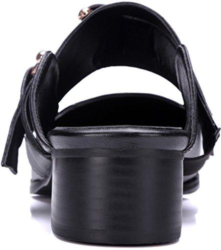 Chaussures Bloc Talon Mules Calaier Sandales Femmes 3cm Noires on Slip Bout Camirror Fermé w6w4xqPf