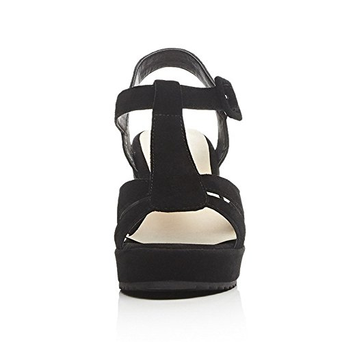 AmoonyFashion Womens Solid Frosted High-Heels Open Toe Buckle Sandals Black i7Xnt