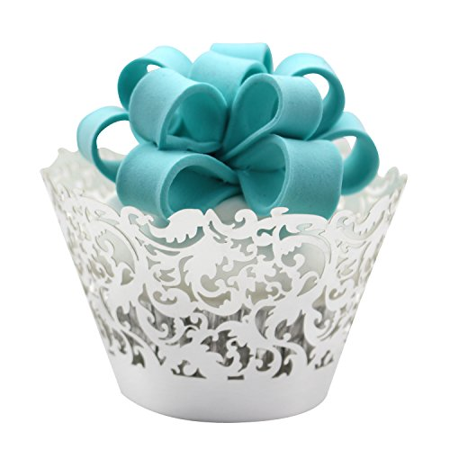 KEIVA 100pcs Cupcake Wrappers Wraps Cases Wedding Birthday Decorations (Mirror Silver)