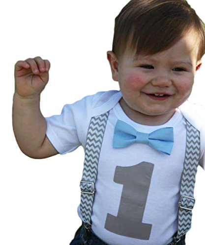 Noahs Boytique Boys Cake Smash Outfit First Birthday Grey Chevron Light Baby Blue Bow Grey Number One 18-24 Months
