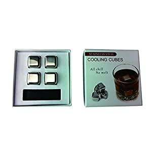 Hotder Set of 4 Stainless Steel Chilling Reusable Wine Ice Cubes, Whiskey Chilling Rocks, Whisky Stones