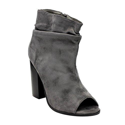 BELLA MARIE AE68 Women's Side Zipper Slouchy Peep Toe Block Heel Ankle Booties