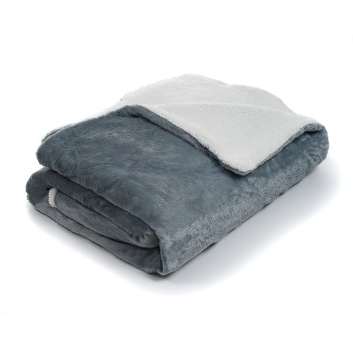 Bedford Home Fleece Blanket with Sherpa Backing, Full/Queen,
