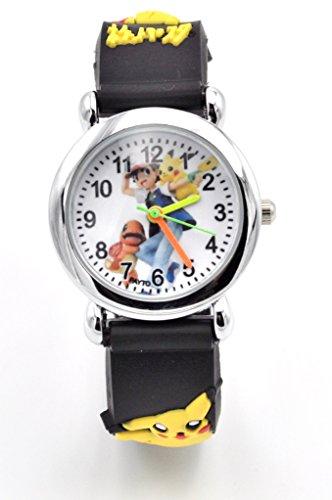 Hot Selling Pokemon Kids Watch Pikachu Watch 3D Silicone Wristwatch Gift Set for Kids, Boys or Girls (Black)