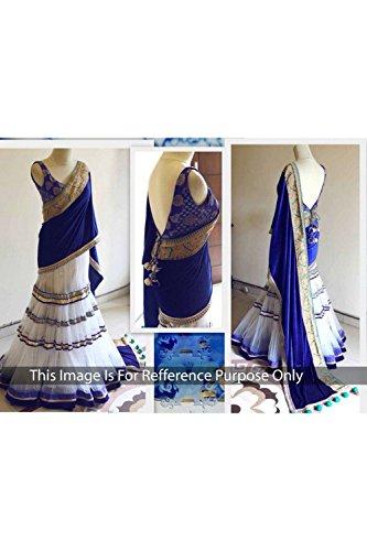 FourCorners2013 Designer WHITE BLUE BANARASI ,GEORGETTE NET,Dupatta:-VALV - Banarasi Georgette