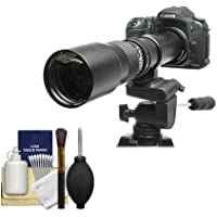 Rokinon 500mm f/8 Telephoto Lens with 2x Teleconverter (=1000mm) for Canon EOS 60D, 7D, 5D Mark II III, Rebel T3, T3i, T4i Digital SLR Cameras