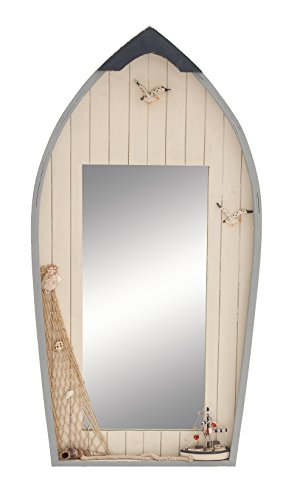 Deco 79 Seaside Nautical Row Boat Mirror Decor with Fishing Net (Mirror Seaside)