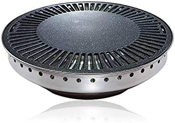 Korean BBQ Stove Top Indoor//Outdoor Grill 13.39 Inches Diameter Round Non-Stick Marble Coating Surface Indoor BBQ 34 cm Round Marble Grill Pan with Oil Drain Outlet