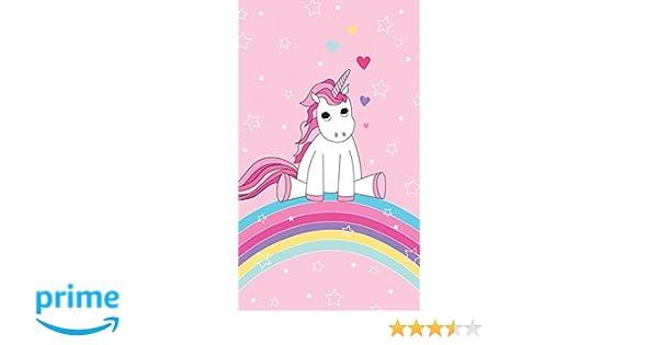 Familando Bonito Unicornio Unicorn, Arco Iris, toalla de playa con estrellas, corazones Chica, piscina Toalla de 70 x 140 cm, 100% algodón aterciopelado, ...