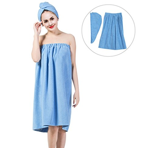 Spa 1 Robe Hook - Women's Bath Wrap Set, Adjustable Bathing Bathrobe and Hair Drying Cap Spa Strapless Shower Towel Kits, 35.4 inch/90cm Length (Blue)