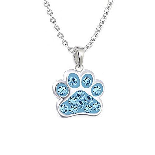 gh1a Aquamarin Cristal Colgante de huellas de huellas de perro con cadena plata de ley 925niños Set
