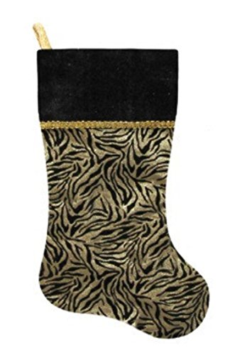"Northlight 20"" Black and Gold Metallic Zebra Print Christmas Stocking with Shadow Velveteen Cuff -  31450825"