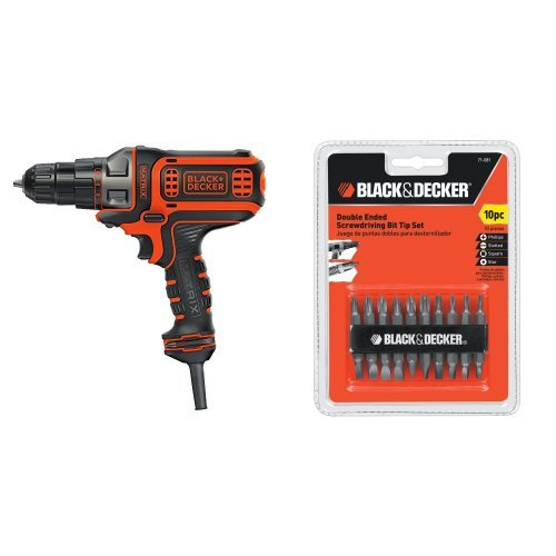BLACK+DECKER BDEDMT Matrix AC Drill/Driver with 71-081 Double Ended Screwdriving Bit Set, 10-Piece