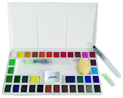 Jerry Q Art 36 Assorted Water Colors Travel Pocket Set- Two Free Refillable Water Brush With Sponge - Easy to Blend Colors - Porcelain Mixing Tray - Perfect For Painting On The Go JQ-136