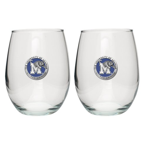 Pewter Memphis Tigers Stemless Goblet (Set of 2)