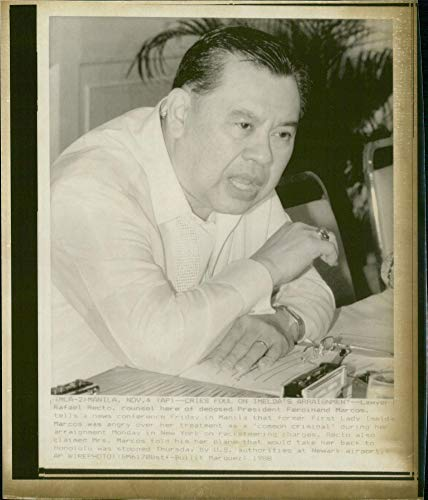Vintage photo of Rafael Recto, lawyer to deposed president Ferdinand Marcos