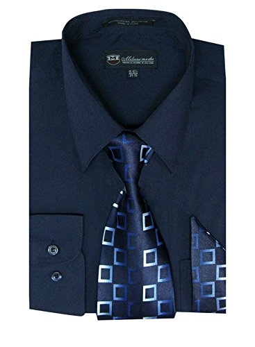 (Milano Moda Men's Long Sleeve Dress Shirt With Matching Tie And Handkie SG21A-Navy-18-18 1/2-34-35)