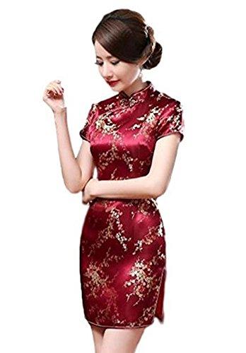 Maritchi Women's Sexy Floral Mini Chinese Evening Dress Cheongsam China Wedding Clothes (8(ChineseXL), - Candle China
