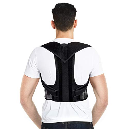 Back Posture Corrector, Back Brace Upper Back Support with Adjustable Shoulder Straps and Lumbar Belts for Men Women, Improve Posture, Prevent Slouching and Relieve Back Pain (L)