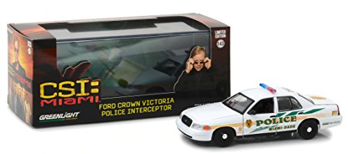 Greenlight 1:43 Csi (2002-2012 TV Series) -2003 Ford Crown Victoria Interceptor Miami-Dade Police (86508) Die-Cast Vehicle
