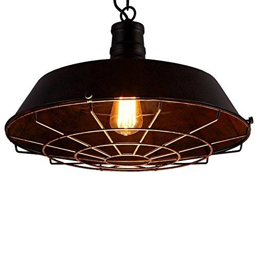 - MKLOT Vintage Industrial Pendant Light Iron Shade Cage Adjustable Chain for Indoor Lighting Hallway Warehouse Barn