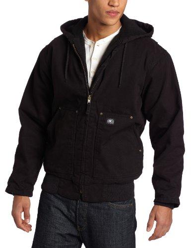 Key Apparel Men's Premium Insulated Fleece Lined Hooded Duck Jacket, Black, Medium Tall (Duck Lined Hooded Jacket)