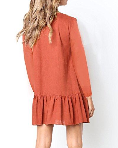 Womens Mini Dresses Neck red Button Tunic Sleeves Brick Short Valphsio V Ruffle Hem Down Z dSvd4x