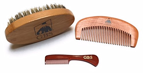 GBS Combo Set-3 Piece Kit Premium Oval Wood Beard Brush with Boar Bristles, Bamboo All Fine Hard Bristle Beard Comb & Mustache Comb, Gift Idea for Father's Day, Birthday, or any Holidays! -