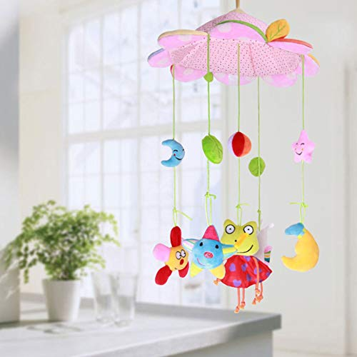 UNIE Plush Musical Mobile, Baby Crib Mobile with Hanging Rotating Toys and Music Box, Baby Crib Decoration Newborn -