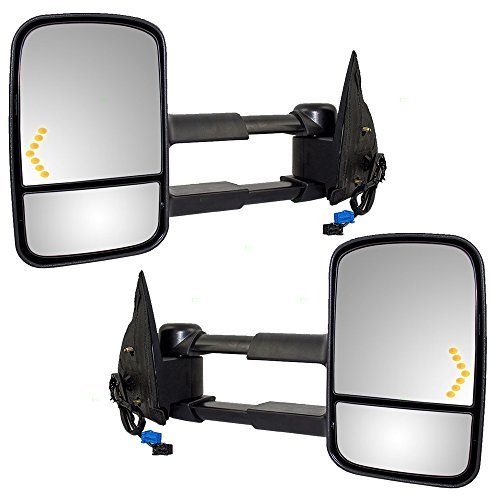 Driver and Passenger Power Tow Side Mirrors Heated Signal Telescopic Replacement for Cadillac Chevy GMC Pickup Truck GM1320355 GM1321355 ()