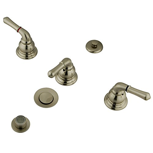 Kingston Brass KB328 Magellan Bidet Faucet with 3 Lever Handle and Pop-Up, Satin Nickel