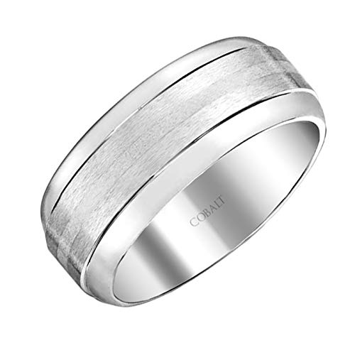 Brilliant Expressions Cobalt Metal Low Dome Satin-Finish Wedding Band with Silver Stripe, 7mm, Size 6