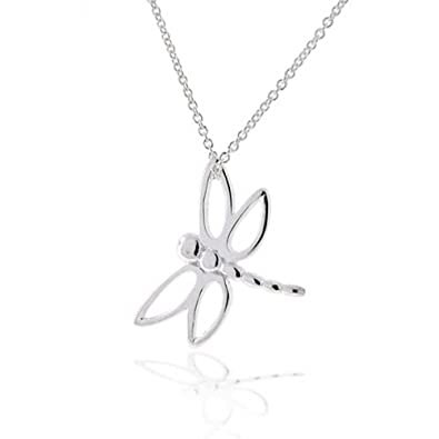 Bling Jewelry Open Wing Dragonfly Pendant Sterling Silver Necklace 16 Inches E5L5AqtDiu