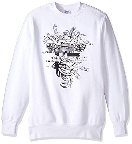 Crooks & Castles Men's Galactic Medusa Sweatshirt, White, X-Large