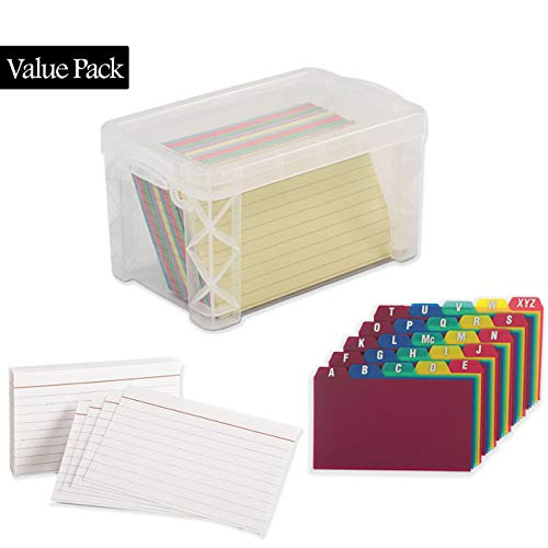 Durable Poly Az Card Guides - Index Card Box Holder, Holds 300 Cards, Clear - With 100 Heavy Weight Ruled Index Card - and 100 Poly Card Guides A-Z - 4x6