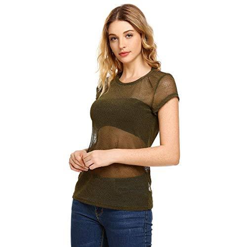 8a18fa5e Dealwell Women's Sexy Glitter Short Sleeve Mesh Sheer See Through Tee Shirt  Tops