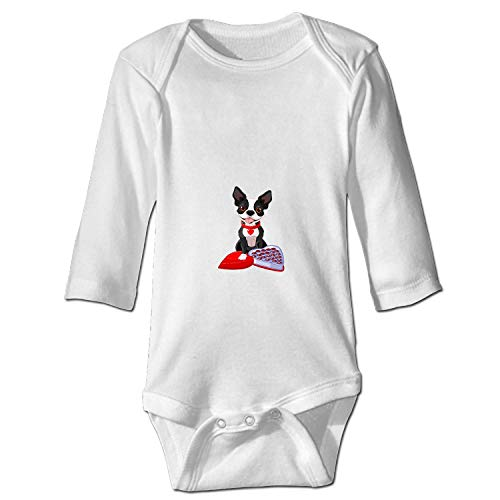 XASFF Baby Cotton Bodysuits Chocolate Boston Terrier Long-Sleeve Onesies