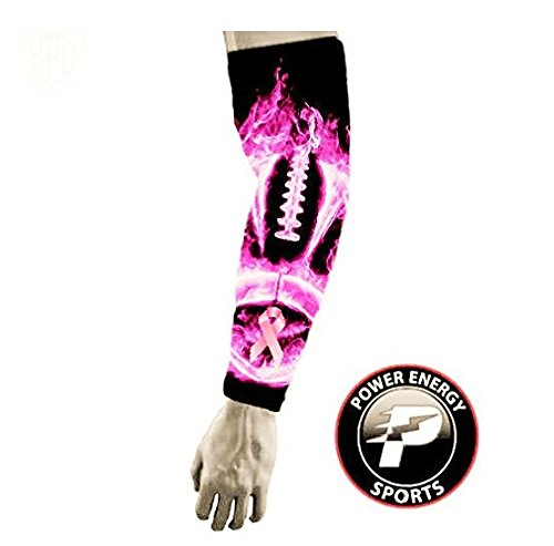 Power Energy Sports Pink Ribbon Breast Cancer Awareness Baseball Football Compression Arm Sleeve - Pink Football Flames (XXL) ()