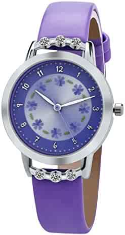 Dovoda Girl Watches Easy Reader Time Teacher Flowers Diamond Purple Leather Watch for Kids