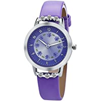 DOVODA Girl Watches Easy Reader Time Teacher Flowers Diamond Purple Leather Band Kids Watch