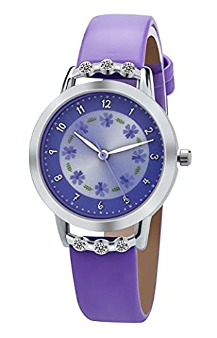 Dovoda Girl Watches Easy Reader Time Teacher Flowers Diamond Purple Leather Band Kids Watch (Citizen Watch Silicone)