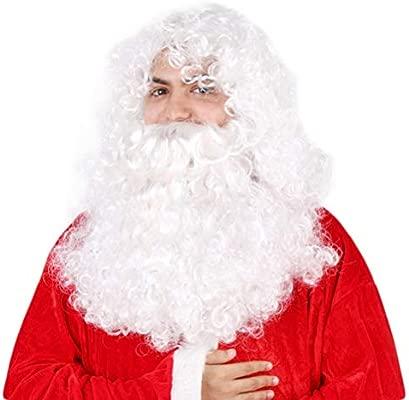 Kylewo Peluca Barba Set Santa Claus Barba y Peluca Disfraz de Papá ...