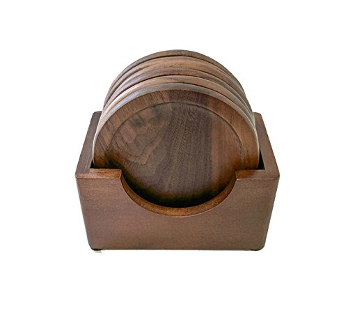 Walnut Dark Wood, 7-Piece Coaster Set, Holder Included, Matte, Non-Glossy, Protective Finish ()