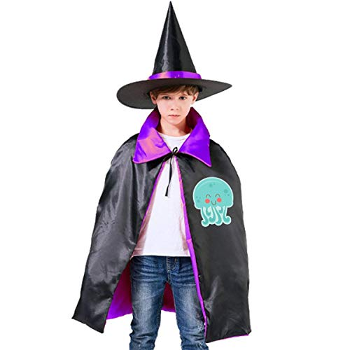 Children Happy Jellyfish Halloween Party Costumes Wizard Hat Cape Cloak Pointed Cap Grils -