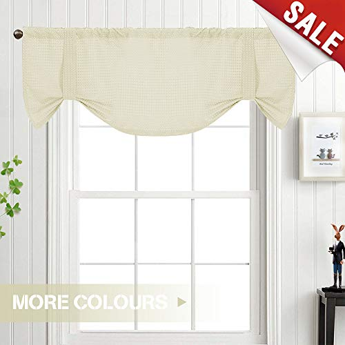 Ivory Tie Up Valance for Kitchen and Living Room Curtain for sale  Delivered anywhere in USA