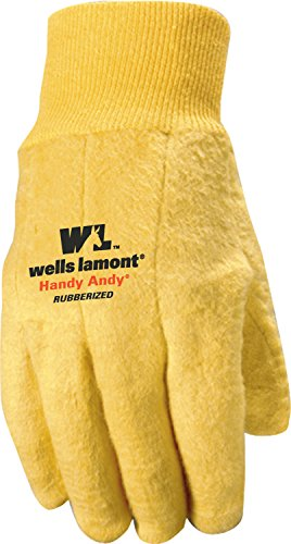Wells Lamont Original Handy Andy Men's Chore Glove with Rubber Lining, 16-Ounce Knit, Golden Brown, Small (Chore Gloves)